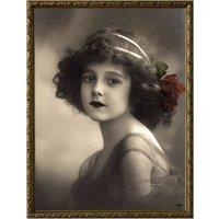 Tavla ung kvinna - Guldfärgad ram