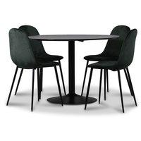 Seat matgrupp, matbord med 4 st Carisma sammetsstolar - Svart/Mörkgrön
