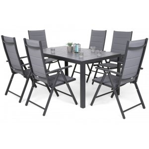 Utematgrupp Ibiza bord 150cm + 6 stolar - Grå/mörkgrå