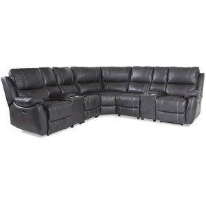 Enjoy recliner-hörnsoffa - 5-sits (el) i grått konstskinn