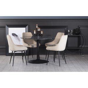 Plaza matgrupp, marmorbord med 4 st Theo sammetsstolar - Beige/Grå/Svart