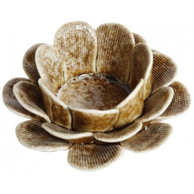 Ljushållare Blomster - Keramik (Ljusbrun)