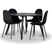 Rosvik matgrupp, matbord med 4 st Carisma sammetsstolar - Svart/Svart