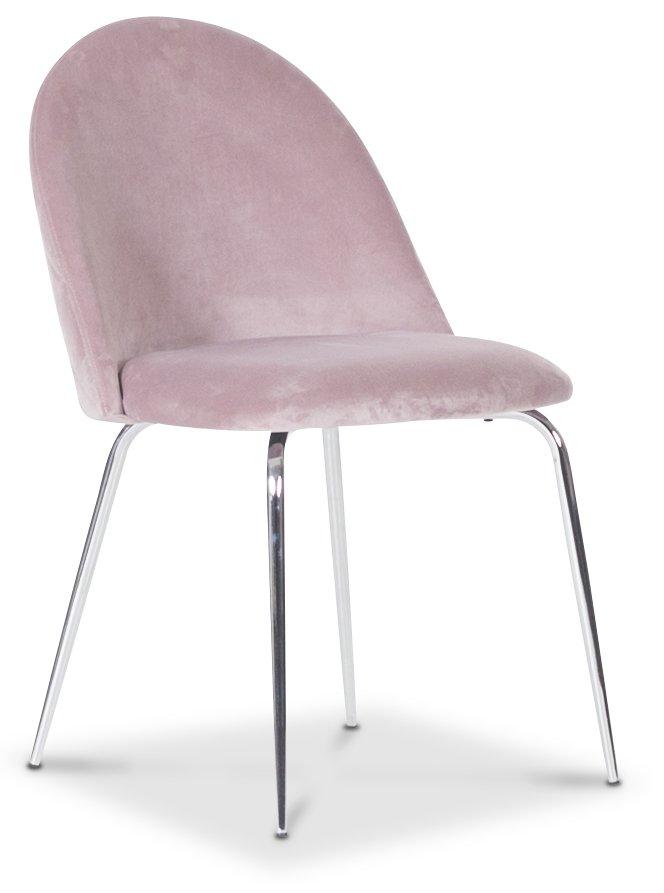 Plaza velvet stol Ljusrosa Krom