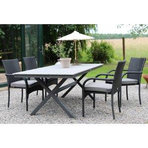 Stokke utematgrupp bord med 4 st stapelbara stolar - Grå/Svart