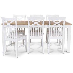 Dalarö matgrupp 180 cm bord vit/ek + 6 st Mellby matstolar