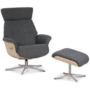 Comfort reclinerfåtölj med fotpall - Grått tyg / Trä