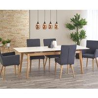Greger matbord utdragbart - Marmor/Ek