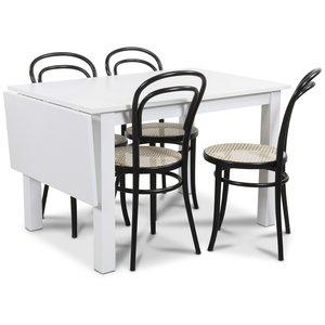 Sander matgrupp, Bord med klaff och 4 st Thonet No14 stolar