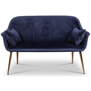 Flappy 2-sits soffa - Mörkblå sammet / Mässings ben