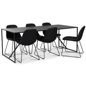 Atlantic matgrupp: Lazio bord + 6 st Atlantic Sled stolar svart PU