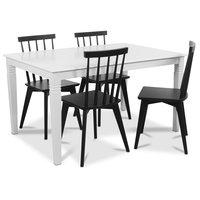 Mellby matgrupp 140 cm bord med 4 st svarta Linköping Pinnstolar - Vit / Svart
