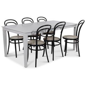 Mellby matgrupp 180 cm bord med 6 st Thonet matstolar