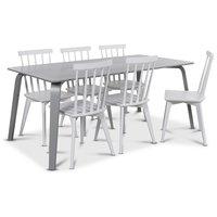 Visby matgrupp, 180 cm grått bord med 6 st vita Linköping Pinnstolar