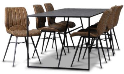Kända Lazio matgrupp 195 cm bord med 6 st Unique stolar - Svart/Brun DM-28