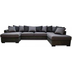 Delux U-soffa med öppet avslut höger - Grå/Antracit/Vintage