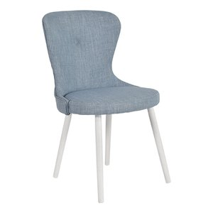 Betty stol med vita ben - Blått tyg