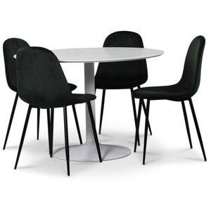 Seat matgrupp, runt matbord med 4 st Carisma sammetsstolar - Vit/Grön