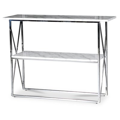 Paladium konsolbord - Krom / Ljus marmor