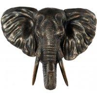 Väggdekoration Elefant - Brun/guld