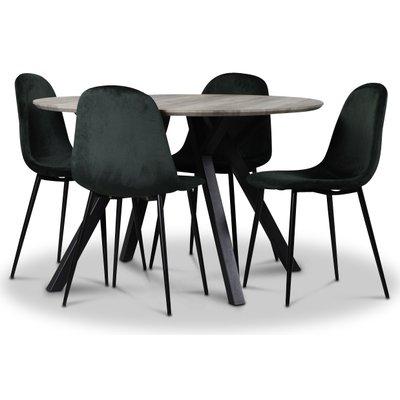 Smokey matgrupp, runt matbord med 4 st Carisma sammetsstolar - Mörkgrön