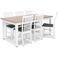 Ramnäs matgrupp - Bord inklusive 6 st Alice matstolar med grå sits - Vit/ekbets