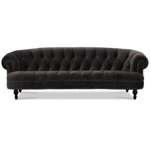 Chesterfield Oxford 3-sits svängd soffa - Grafitgrå sammet