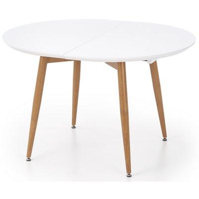 Paloma runt matbord utdragbart 120-200 cm - Vit (Högglans) / Ek