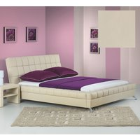 Hilda sängram och Huvudgavel - Beige Eco Läder