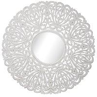Carve rund spegel 90 cm - Antikvit