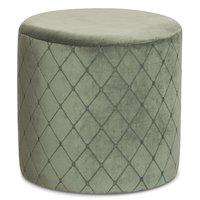 Check cylinderformad sittpuff - Olivgrön Sammet