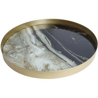 Marmor rund serveringsbricka - Svart/vit marmor