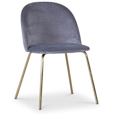 Giovani velvet stol - Grå/Mässing