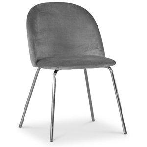 Giovani velvet stol - Grå/Krom