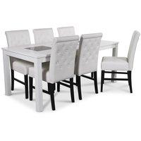 Jasmine matgrupp med vitlackat bord och 6 st Twitter matstolar i vit PU