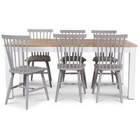 Dalarö matgrupp 180 cm bord vit/ek + 6 st gråa pinnstolar