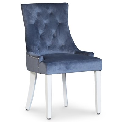 Tuva stol, blå sammet med handtag - Vita ben