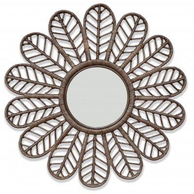 Peacock spegel i rotting Ø90 cm - Brun