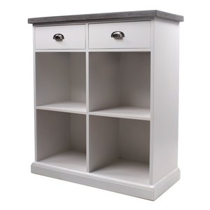 Byrå hugo enkel med 2 lådor - Vit/cement