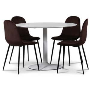 Seat matgrupp, runt matbord med 4 st Carisma sammetsstolar - Vit/Bordeaux