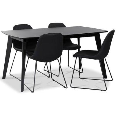 Atlantic matgrupp: Oliver matbord HPL + 4 st Atlantic sled stolar svart PU