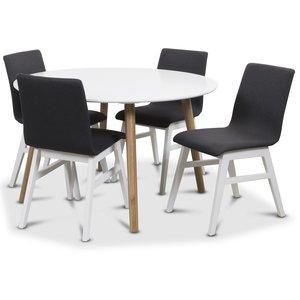 Rosvik matgrupp Runt bord vit/ek med 4 st Molly stolar vit / Mörkgrå