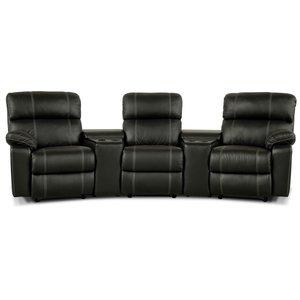 Leo biosoffa med 3-sits recliner och hållare - Svart skinn