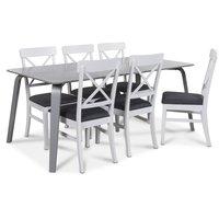 Visby matgrupp, 180 cm grått bord med 6 st Elisa matstolar
