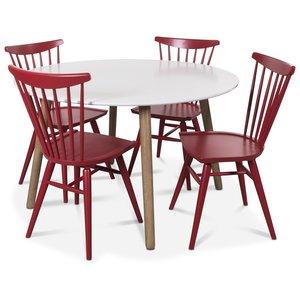 Rosvik matgrupp runt Vit/Ek matbord med 4 st Thor pinnstolar- Vit/Ek / Rött