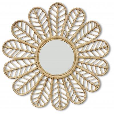 Peacock spegel i rotting Ø90 cm - Natur