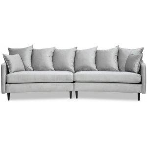 Gotland 4-sits svängd soffa 301 cm - Ljusgrå sammet