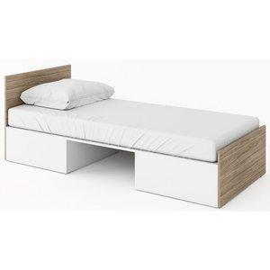 Kimberlee säng med förvaring 90x200 cm - Vit/barcelona valnöt