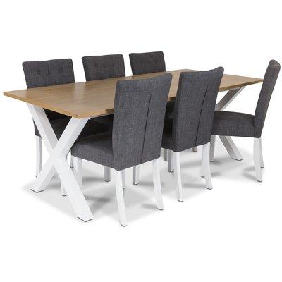 Isabelle matgrupp - Bord inklusive 6 st Crocket stolar med grå sits - Vit/ekbets