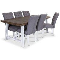 Colorado matgrupp, 200cm brunt/vitt bord med 6 st Oliva stolar i grått tyg